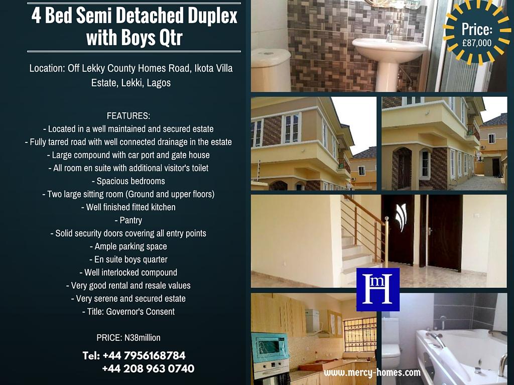 4 Bed Semi Detached Duplex with Boys Qtr Ikota